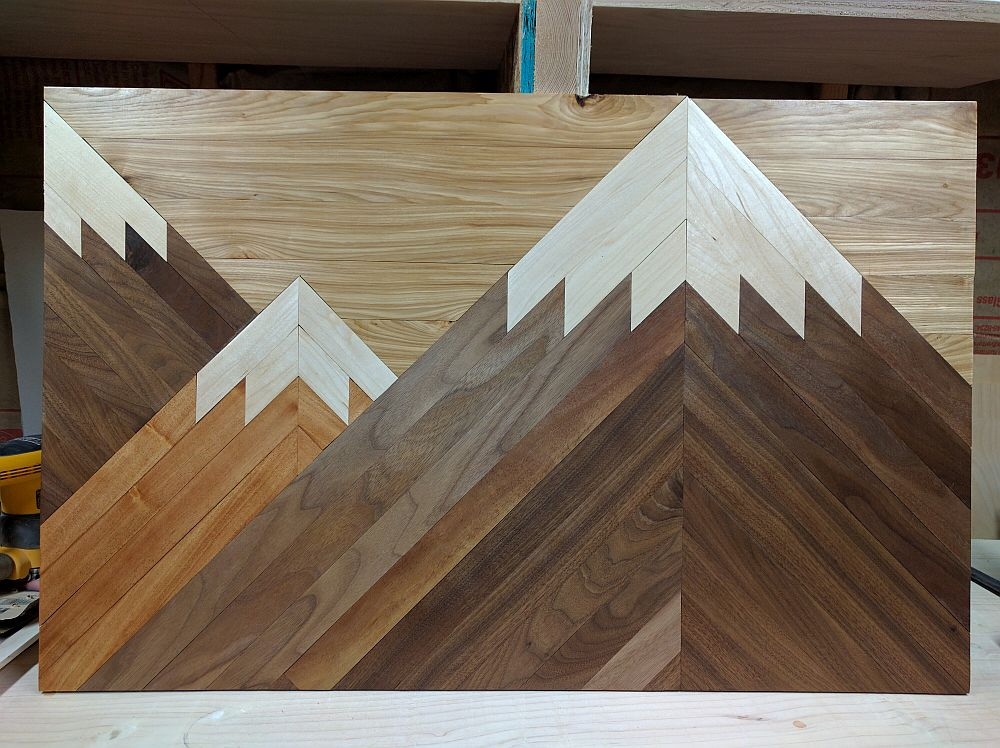 Custom made woodwork art of mountains